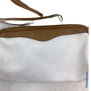 Vintage Gucci white and tan crossbody purse